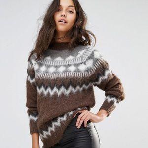 Alpaca Fairisle Fluffy Knit Brown Sweater Size XL